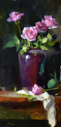 """Pink Rose Rhapsody"" by Kelli Folsom, 24"" x 12"", Oil on linen, 2017, #oilpainting #painting #rose #rosepainting #flowerpainting"