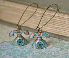 Conversation. brass patina telephone charm earrings. Tiedupmemories