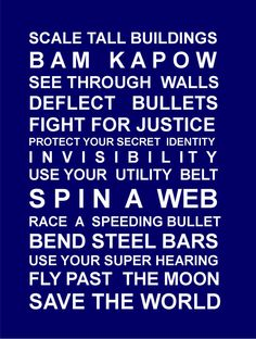 Superheros- Navy-typography bus scroll poster. $28.95, via Etsy.  For superhero bedroom.