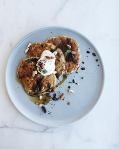 Dark chocolate pancakes with sage almonds creme fraiche and ILĀ wood fired maple syrup #sunday @shop_ila by sundaysuppers