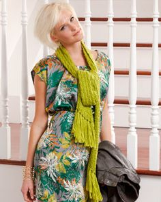 A vibrant lime green hue and bias pattern make this chic scarf a stylish choice. Shown in Bernat Sheep(ish) by Vickie Howell.