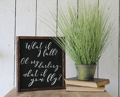 """Rustic Farmhouse Decor-""""What if I Fall"""" Wooden Sign $45 from Rust & Relics LLC. Shop all your Industrial Farmhouse Decor here:http://www.rustandrelics.net/_p/prd1/4566895031/product/%22what-if-i-fall%22-wooden-sign"""