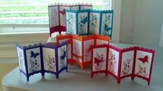 Stampin' Up! ... handmade screen cards ... monochromatic ... stamping and butterfly punch ...