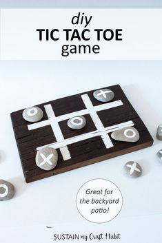 Make your own tic tac toe game with stones and a wood board. A perfect way to entertain guests (and kids!) on the back porch or at the cottage.