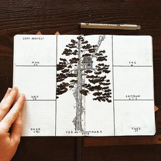 Bullet weekly layout, treehouse drawing. | @the_botanical_bullet