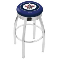 """Winnipeg Jets 30"""" Chrome Swivel Bar Stool with 2.5"""" Ribbed Accent Ring - $159.00"""