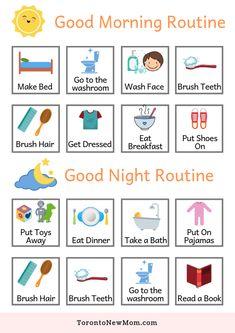 Morning Routine Chart, Morning Routine Kids, Daily Routine Chart, Night Time Routine, Evening Routine, Toddler Routine Chart, Toddler Chart, Toddler Schedule, Toddler Reward Chart