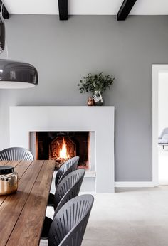 House Helpful Tips For Contemporary Interior Design kitchen Grey Fireplace, Modern Fireplace, Fireplace Design, Contemporary Interior Design, Interior Design Kitchen, Design Bathroom, Modern Contemporary, Danish Furniture, Furniture Design
