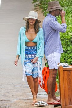 Time to dry off: The pair had been seen more dressed up on dry land as Jessica sported pat...