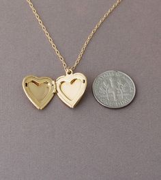 Small Gold Heart Locket Necklace also in Silver by JENNYandJUDE