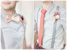 Suspenders and stripes with a pop of pastel make for a dapper groom.