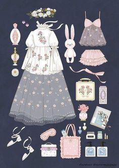 Ideas For Fashion Clothes Illustration Vintage Fashion Sketches, Fashion Design Drawings, Drawing Fashion, Kleidung Design, Mode Lolita, Estilo Lolita, Anime Dress, Fuchsia, Sketch Inspiration