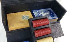 Vintage Travel Poker Set with 1915 Playing Cards by Eudaemonius