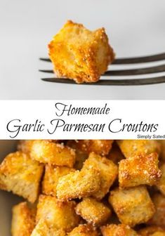 If you want homemade croutons in your life (and you do), Homemade Garlic Parmesan Croutons are THE choice. They are crispy, yet tender, with a hint of garlic and the perfect amount of Parmesan. They aren't only great on salad, they make a terrific snack. Homemade Garlic Butter, Homemade Croutons, How To Make Croutons, Crouton Recipes, Ceasar Salad, Garlic Parmesan, Garlic Bread, Air Fryer Recipes, Soup And Salad