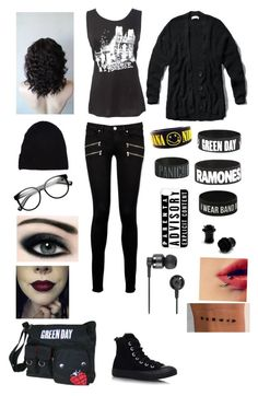 """All you need in life is good music, band merch, and black clothes!"" by broadwaybaby01 ❤ liked on Polyvore featuring Paige Denim, Abercrombie & Fitch, Converse, Yves Saint Laurent, CellPowerCases, Retrò, CARGO and Nixon"