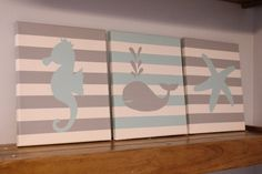 nautical nursery baby girl baby boy seahorse by JessieAnnCreations, $50.00