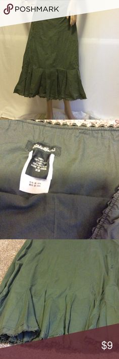 """Eddie Bauer long flowy green skirt Tag says xs but def fits more like a s-m or size 6. Army green color with a vintage hem. Side zip. Excellent condition. Waist is 15.5"""" across flat. 32"""" long Eddie Bauer Skirts Maxi"""