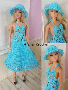 Ravelry: Barbie is Marjolaine pattern by Odile Larranda Crochet Doll Dress, Crochet Barbie Clothes, Barbie Clothes Patterns, Clothing Patterns, Crochet Baby Bikini, Barbie Et Ken, Robe Diy, Mode Crochet, Barbie Dress