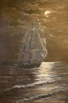 Vintage Oil Painting of Ship in Moonlight