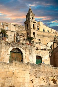 The ancient troglodyte cave dwellings, known as Sassi, in Matera, Southern Italy. A UNESCO World Heritage Site.