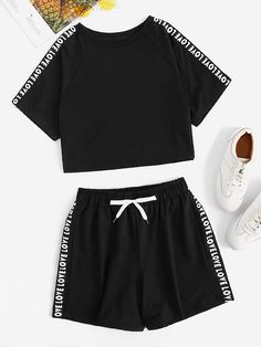 To find out about the Letter Tape Raglan Sleeve Crop Tee With Shorts at SHEIN, part of our latest Two-piece Outfits ready to shop online today! Girls Fashion Clothes, Teen Fashion Outfits, Swag Outfits, Girl Fashion, Cute Lazy Outfits, Stylish Outfits, Cool Outfits, Summer Outfits, Cute Sleepwear