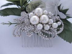 Wedding hair comb,bridal comb,Vintage Inspired White/Ivory Pearl Bridal Hair Comb, Swarovski Crystal Headpieces,Tiara, Bridesmaid Jewelry on Etsy, $35.00