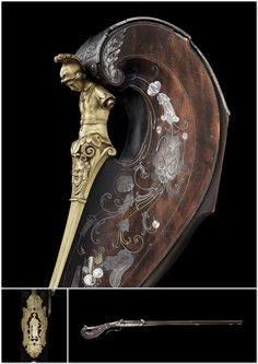 Fusil à double platine à silex et à mèche. Période: 17e siècle.   Paris, musée de l'Armée