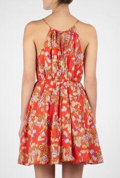 red summer dress.