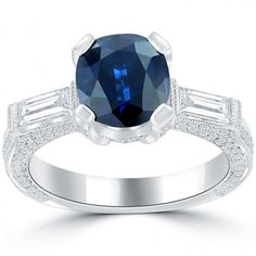 4.05 Carat Natural Blue Sapphire & White Diamond Engagement Ring 14k White Gold - Thumbnail 1