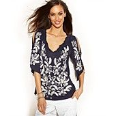 INC International Concepts Cold-Shoulder Embroidered Peasant Top