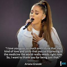 """Ariana Grande originally had more somber plans for #OneLoveManchester. The mother of Olivia, who lost her life in the attacks, told Ariana that her daughter would have wanted to hear """"the hits."""" So, she changed everything and played the hits. (: Kevin Mazur/@gettyentertainment for One Love Manchester)"""