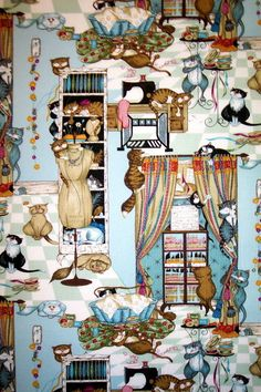 Sewing With Kitty yards --Cat Fabric Ironing Board Covers, Cat Fabric, Boards, Kitty, Sewing, Cats, Fabrics, Painting, Planks