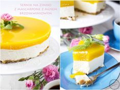 Sernik na zimno z mascarpone i musem brzoskwiniowym Vanilla Cake, Panna Cotta, Cheesecake, Pudding, Ethnic Recipes, Amanda, Cakes, Drinks, Diet