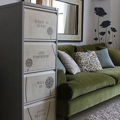 inspiration filing cabinet (I have an UUUUUGGGGLY filing cabinet in my kitchen that needs a makeover)