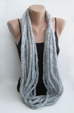 Gray icord cowl scarf necklace infinity scarf neck by sascarves, $18.00