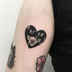 Dotwork heart blackwork fower tattoo.  Blackwork flower tattoos are mysterious, dark and sexy.We have found the most stunning ones recently made and you are going to love them!