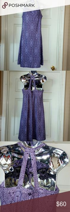"""PrAna Purple Halter Racerback Dress New with tags Prana purple halter racer back dress. Size Large. Built in sled bra adds extra coverage and light support. Bust:32 hip: 42"""" Prana Dresses Backless"""