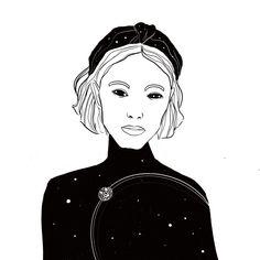 #drawing #blackandwhite #outline #universe #planets #woman #portrait
