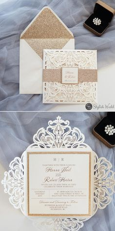 romantic ivory laser cut wedding invites with glittery bottom cards and belly bands SWWS116 #wedding#weddinginvitations#stylishwedd#stylishweddinvitations #vellumweddinginvitations