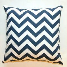 Navy Blue and White Chevron Pillow