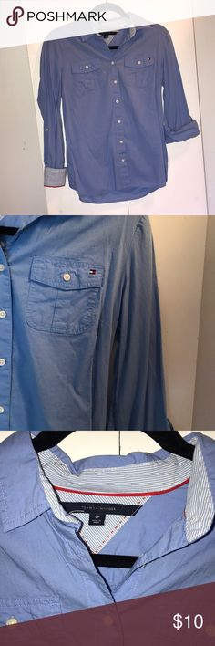 Tommy Hilfiger Shirt Small, blue long sleeve/roll up Tommy Hilfiger shirt. Hardly worn. Super cute lined cuff. Only a little wrinkled from NOT being worn and hung in my closet! Tommy Hilfiger Tops Button Down Shirts