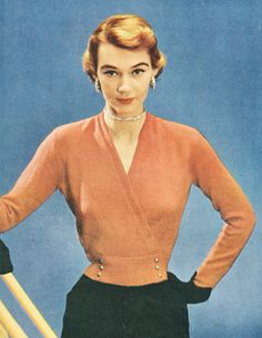 1950s Knitting Vintage Surplice Sweater with Fitted Waist Pattern PDF 5007