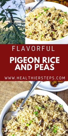 Jamaican Pigeon Peas And Rice is very tasty and popular Jamaican one pot side, made with pigeon peas also known as Gungo peas in Jamaica and cooked in seasoned coconut milk. Vegan Cabbage Recipes, Best Vegan Recipes, Best Dinner Recipes, Side Dish Recipes, Holiday Recipes, Rice And Pigeon Peas, Rice And Peas, Vegan Side Dishes, Best Side Dishes