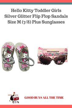 89d1cd9b8 Hello Kitty Toddler Girls Silver Glitter Flip Flop Sandals Size M (7/8)