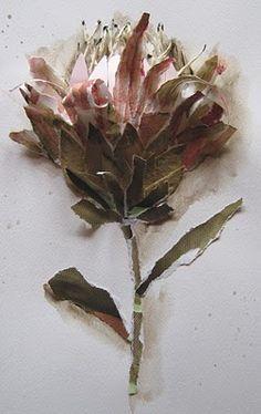 Protea by Terry Angelos Fleurs découpée, déchirée, qui naît du papier.