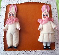 rare Mignonettes:bisque dolls dressed as EASTER Bunnies, on a card , Germany