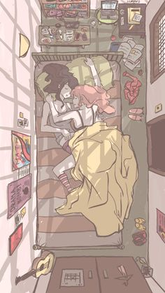 Princess Bubblegum and Marceline Sleepover PB Really cool perspective! I tried to find another birds eye view room like this, but so far no luck. Cute Lesbian Couples, Lesbian Art, Lesbian Love, Anime Couples, Yuri Anime, Anime Art, Blood Lad, Princesse Chewing-gum, Abenteuerzeit Mit Finn Und Jake