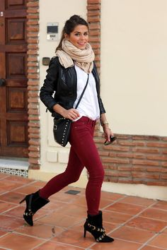 White T-shirt, Black Leather Jacket, Black Leather Satchel, Tan Scarf, Burgundy Skinnies, and Black Booties with gold studs.