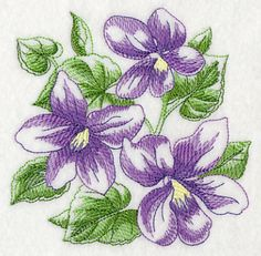Sketched Violets. 	Delicately sketched flowers make a lovely addition to quilts, garden flags, wall hangings, pillow shams, etc.