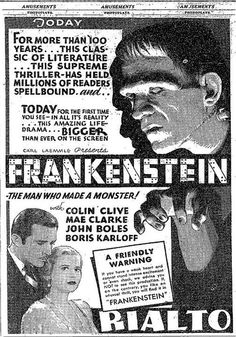 Ad for Frankenstein Best Horror Movies, Sci Fi Movies, Scary Movies, Frankenstein Film, James Whale, The Modern Prometheus, Tv Movie, Horror Posters, Film Posters
